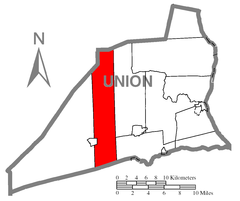 Map of Union County, Pennsylvania Highlighting Lewis Township.PNG
