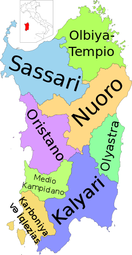 Map of region of Sardinia, Italy, with provinces-az.svg