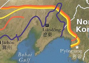 Liaoning - The Ming Liaodong Wall (in purple)