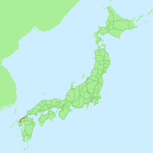Chikuhi Line - Map of Japan with the Chikuhi Line highlighted in red