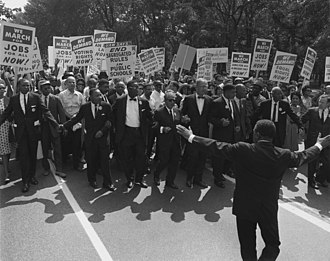 March on Washington for Jobs and Freedom, August 28, 1963, shows civil rights leaders and union leaders. March on washington Aug 28 1963.jpg