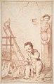 Marcolfa Discovers BertoldinoTrying to Hatch Eggs (recto); Sketch of Bertoldino (verso) MET DP809281.jpg