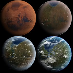 Terraforming - An artist's conception shows a terraformed Mars in four stages of development.