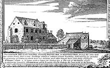 """The Cotton Mill on the River Nen"", (Marvel's Mill) from Noble and Butlin's 1746 map of Northampton - the earliest known pictorial representation of a cotton mill Marvels Mill Northampton.jpg"