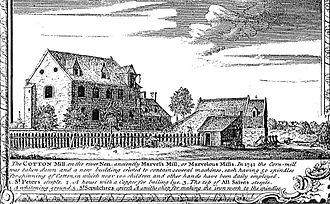 Cotton mill - Marvel's Mill in Northampton pictured in 1746 – the earliest known pictorial representation of a cotton mill.