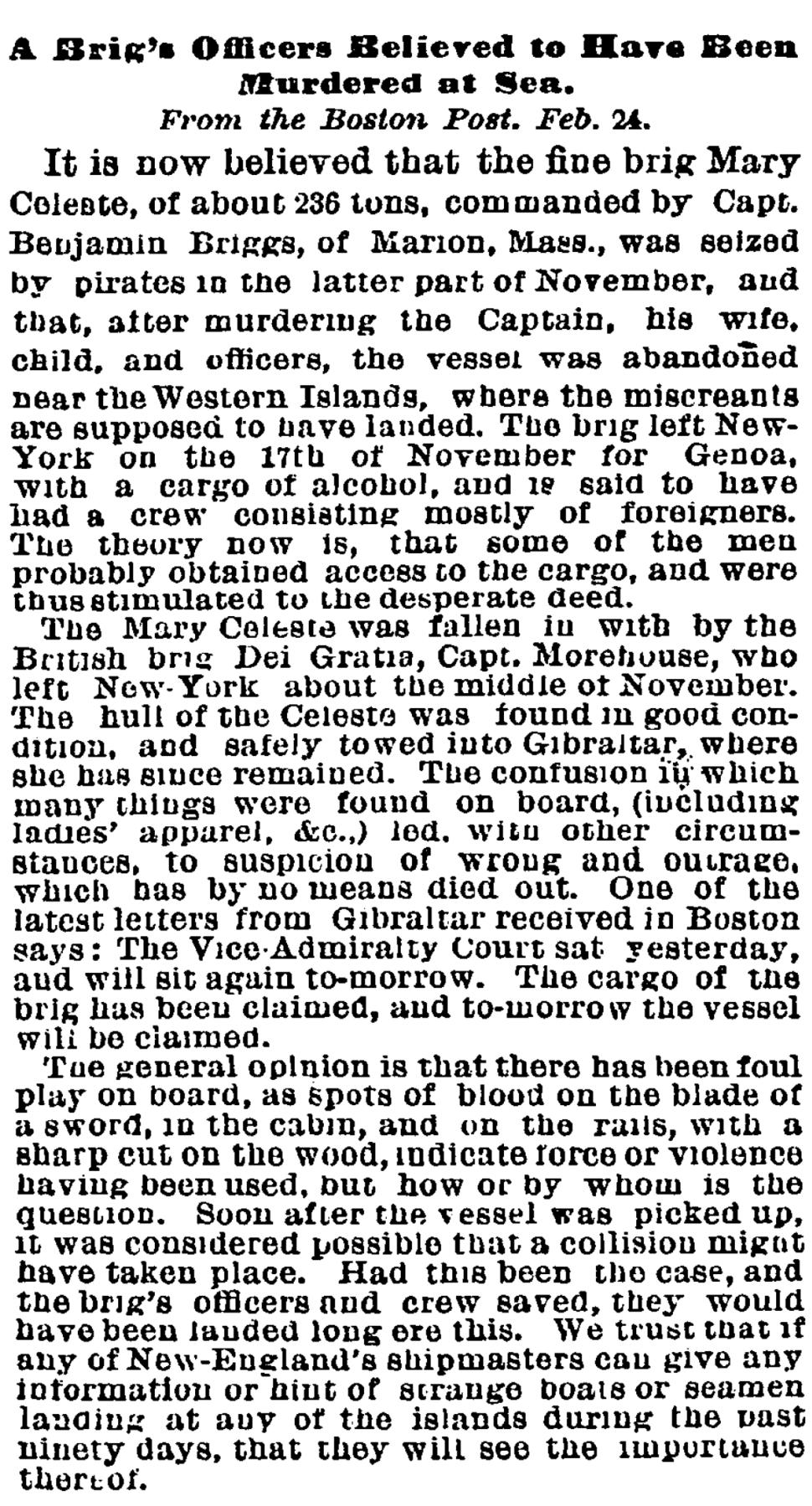 Mary Celeste NYTimes 1873February26
