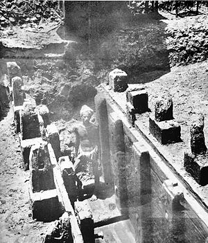 Pataliputra - Mauryan remains of a wooden palisade discovered at the Bulandi Bagh site of Pataliputra.
