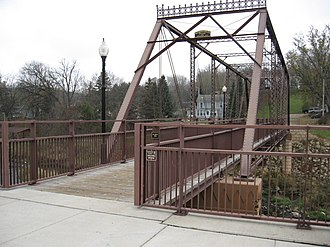 Mazeppa, Minnesota - The Walnut Street Walking Bridge crosses the Zumbro River in Mazeppa and is on the National Register of Historic Places.