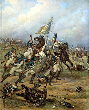 Colour guard - Fight for the flag between French line infantry and Russian Guard cuirassiers at the battle of Austerlitz (1805).