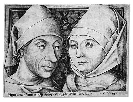 The first self-portrait, by the first businessman in the history of printmaking, Israhel van Meckenam, with his wife Meckenem.jpg