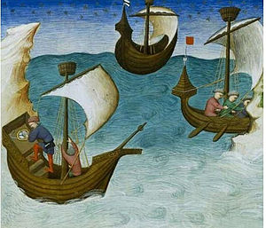 Rule of marteloio - 15th-century mariner consulting a compass aboard ship (from John Mandeville's Travels, 1403)