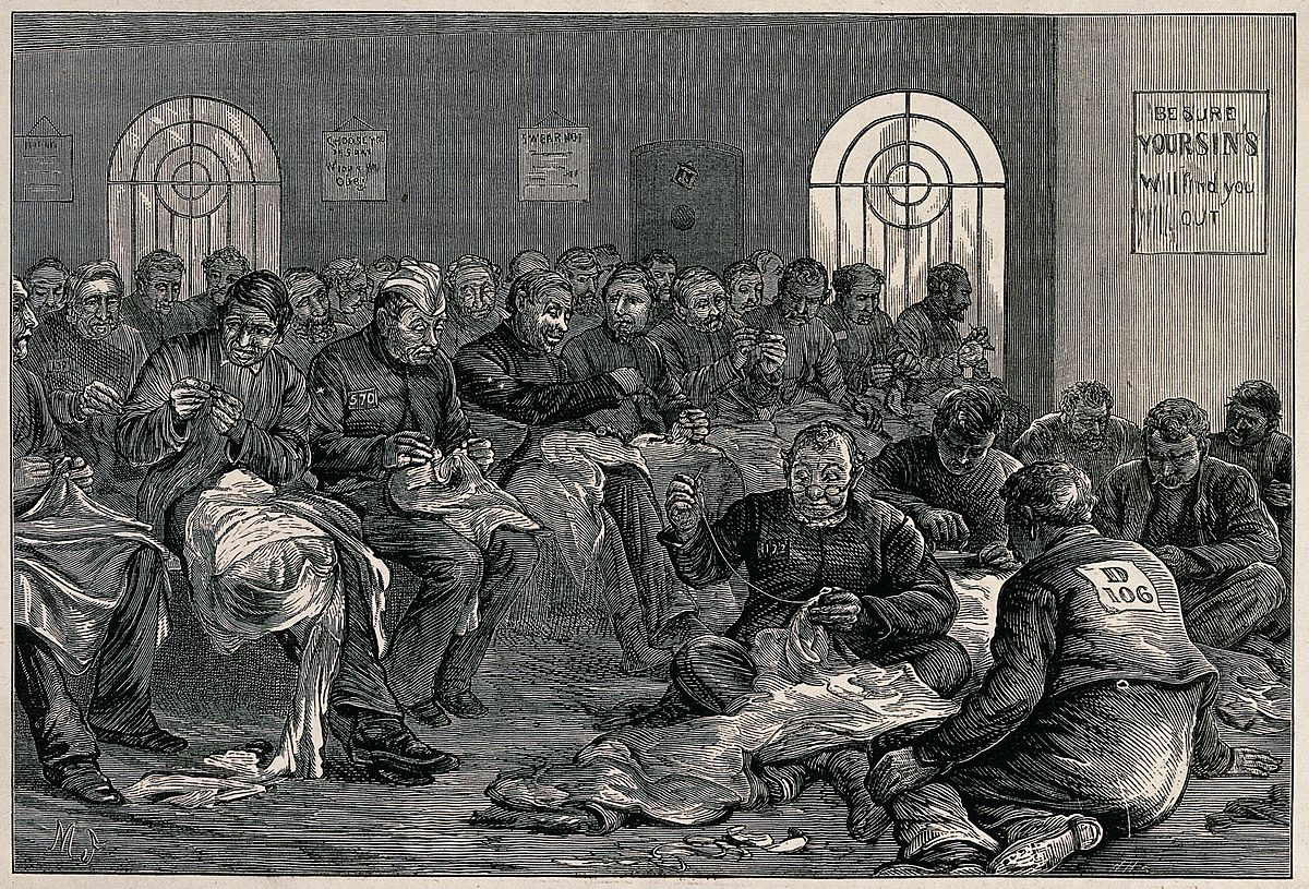 Men in prisoner's uniform are sitting in a room sewing large Wellcome V0041190.jpg