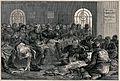 Men in prisoner's uniform are sitting in a room sewing large Wellcome V0041190.jpg