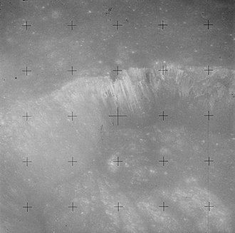 Menelaus (crater) - Oblique close up of the northwest crater wall, from Apollo 15