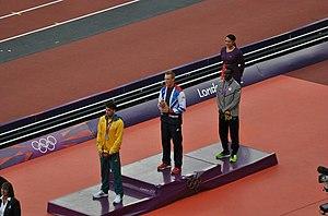 Athletics at the 2012 Summer Olympics – Men's long jump - Image: Mens long jump podium 2012 Summer Olympics