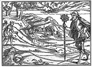 Groma surveying - Chain and Groma: By Carolus Stephanus and Johannes Liebhaltus, Straßburg 1579.
