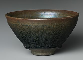 "Stoneware - Jian ware tea bowl with ""hare's fur"" glaze, southern Song dynasty, 12th century, Metropolitan Museum of Art (see below)"