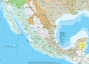 Geography of Mexico -  Watersheds of Mexico. Basins in blue drain to the Pacific, in brown to the Gulf of Mexico, and in yellow to the Caribbean Sea. Grey indicates interior basins that do not drain to the sea.