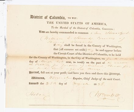 1836 Petition for Freedom by Michael Shiner to the District of Columbia Circuit Court. Source: National Archives and Records Administration RG 71 records of the Circuit Court Michael Shiner 1836 Petition for Freedom.jpg