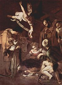 "The Nativity by Caravaggio, 1609. The angel's parchment reads ""Gloria in Excelsis Deo (Luke 2:14)""."