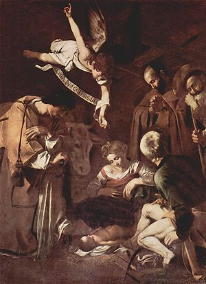 The Nativity by Caravaggio, 1609. The angel's ...