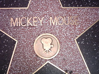 Mickey Mouse's star was the first awarded to an animated character Mickey Mouse star in Walk of Fame.jpg