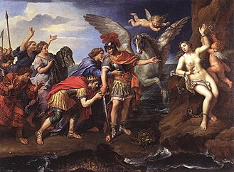 Cepheus of Ethiopia - Metamorphoses of Ovide (the king of Greece, Céphée, and the queen, Cassiopé, thank the hero Perseus for having delivered their daughter Andromeda, offered in sacrifice to a marine monster) by Pierre Mignard (1679) at Louvre Museum, Paris
