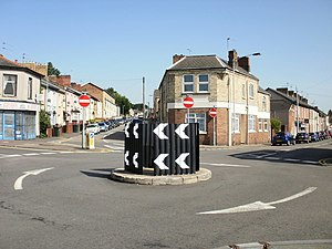 Mini-roundabout Duckpool Road, Newport - geograph.org.uk - 1435594.jpg