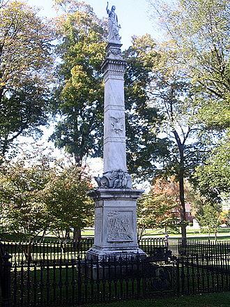 Battle of Minisink - Monument in Goshen, New York over mass grave of Minisink battle dead