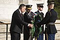 Minister of the Kosovo Security Force and Commander of the KSF lay a wreath at the Tomb of the Unknown Soldier in Arlington National Cemetery (25937023654).jpg