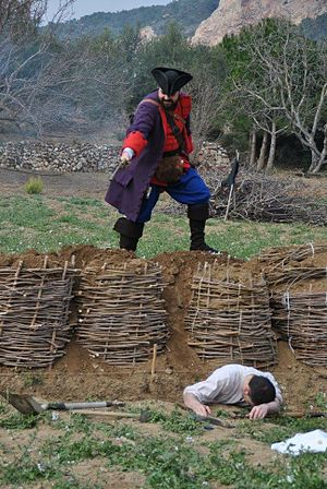 Miquelet (militia) - Miquelet assaulting a French trench. Reenactor of Miquelets de Catalunya
