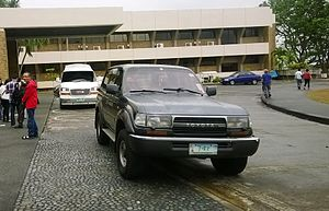 Vehicle registration plates of the Philippines - A Toyota Land Cruiser J80 with a protocol plate 7 for Senators.