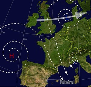 Mistral (wind) - Schematic diagram of mistral wind occurrence in Europe.