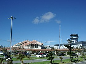 Miyako Airport and its controll tower being repaired just after typhoon.jpg