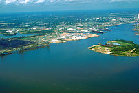 Aerial view of the port and city of Mobile, Al...