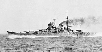 Japanese cruiser Mogami (1934) - Image: Mogami running trials in 1935