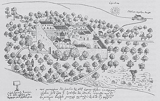 Kaisariani Monastery - Drawing of the monastery in 1745