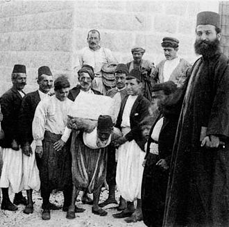 Maronites - Maronite villagers building a church in the region of Mount Lebanon, 1920s.