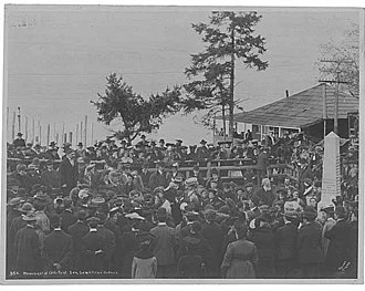 Samuel H. Piles - Piles addressing a crowd at the Alki Point Monument dedication November 13, 1905