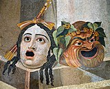 Mosaic depicting theatrical masks of Tragedy and Comedy (Thermae Decianae).jpg