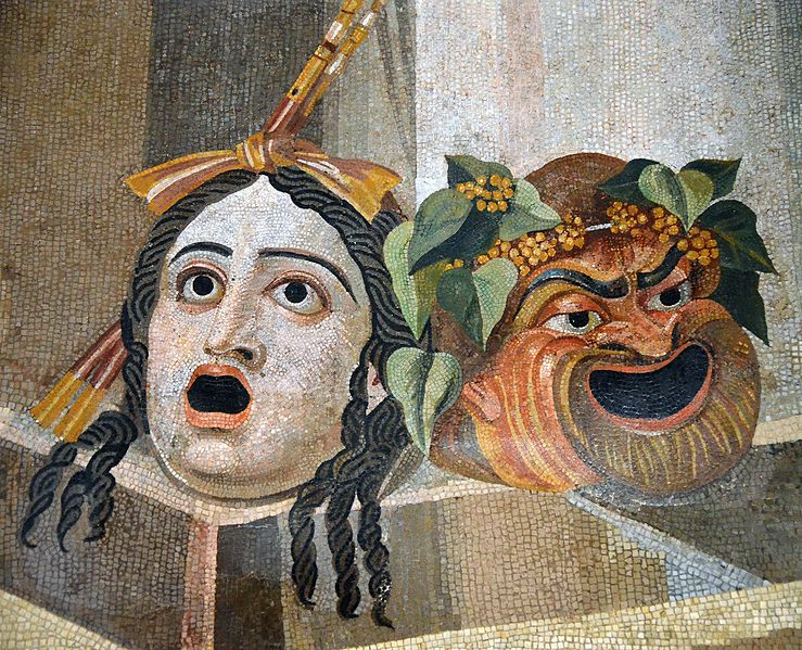 File:Mosaic depicting theatrical masks of Tragedy and Comedy (Thermae Decianae).jpg
