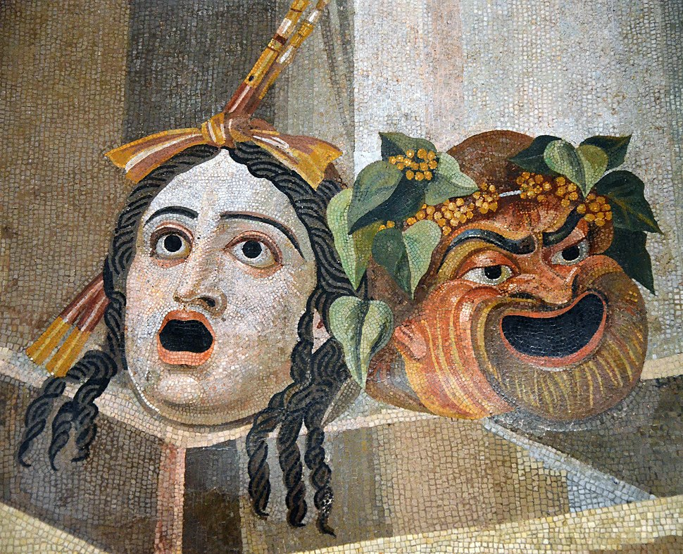 Mosaic depicting theatrical masks of Tragedy and Comedy (Thermae Decianae)