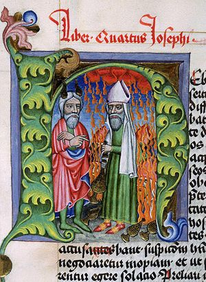 Korah - Moses and Korah, 1466 manuscript miniature, National Library of Poland.