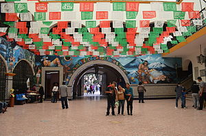 Papel picado - Interior of the municipal palace of Atlixco, Puebla with papel picado celebrating Independence Day.