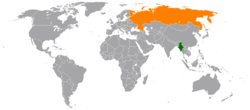 Map indicating locations of Myanmar and Russia