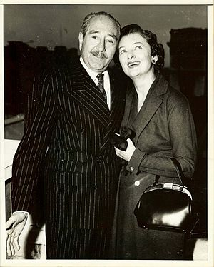 The Ambassador's Daughter (1956 film) - Promotional photo of Adolphe Menjou and Myrna Loy for The Ambassador's Daughter