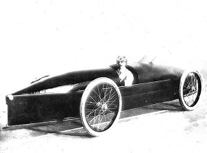 Freelan Oscar Stanley - Driver Fred Marriott behind the wheel of the Stanley Rocket Racer