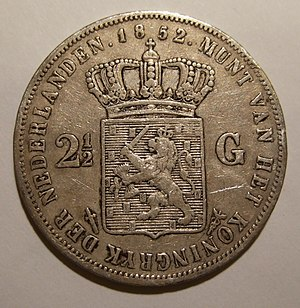 Coins of the Dutch guilder - Image: NETHERLANDS, WILLEM III 1852 2 1,2 GUILDERS a
