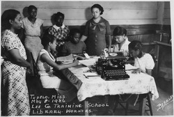 "NYA-""Lee County Training School(Negro)""-Tupelo, Mississippi-students at work in library - NARA - 195369"