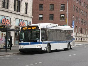 Broadway Line (Midtown Manhattan surface) - An M104 bus on Broadway near Columbia University